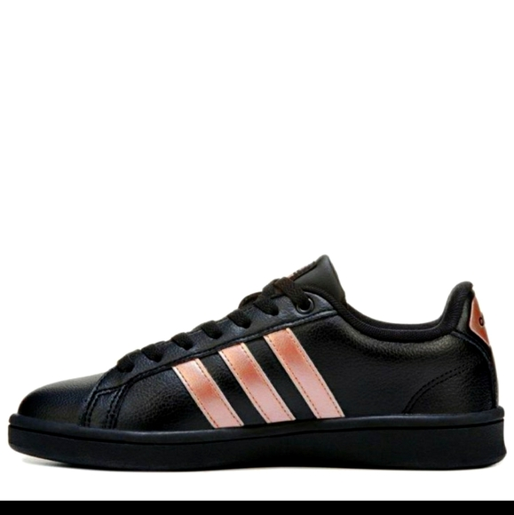 Adidas Black with rose gold stripes sneakers